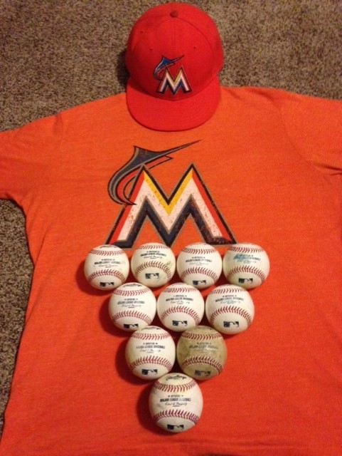 marlins gear and baseballs
